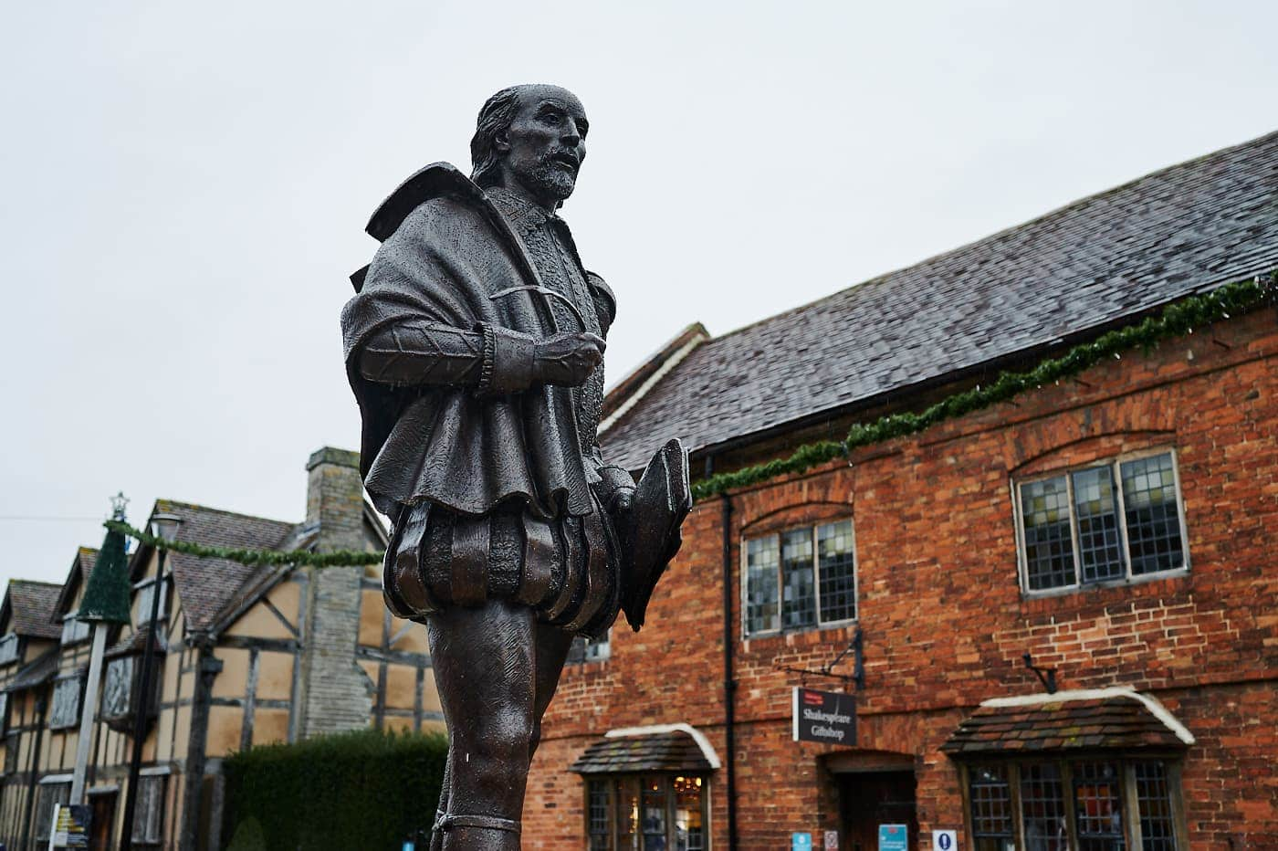 Statue of William Shakespeare in Stratford-upon-Avon on a rainy day