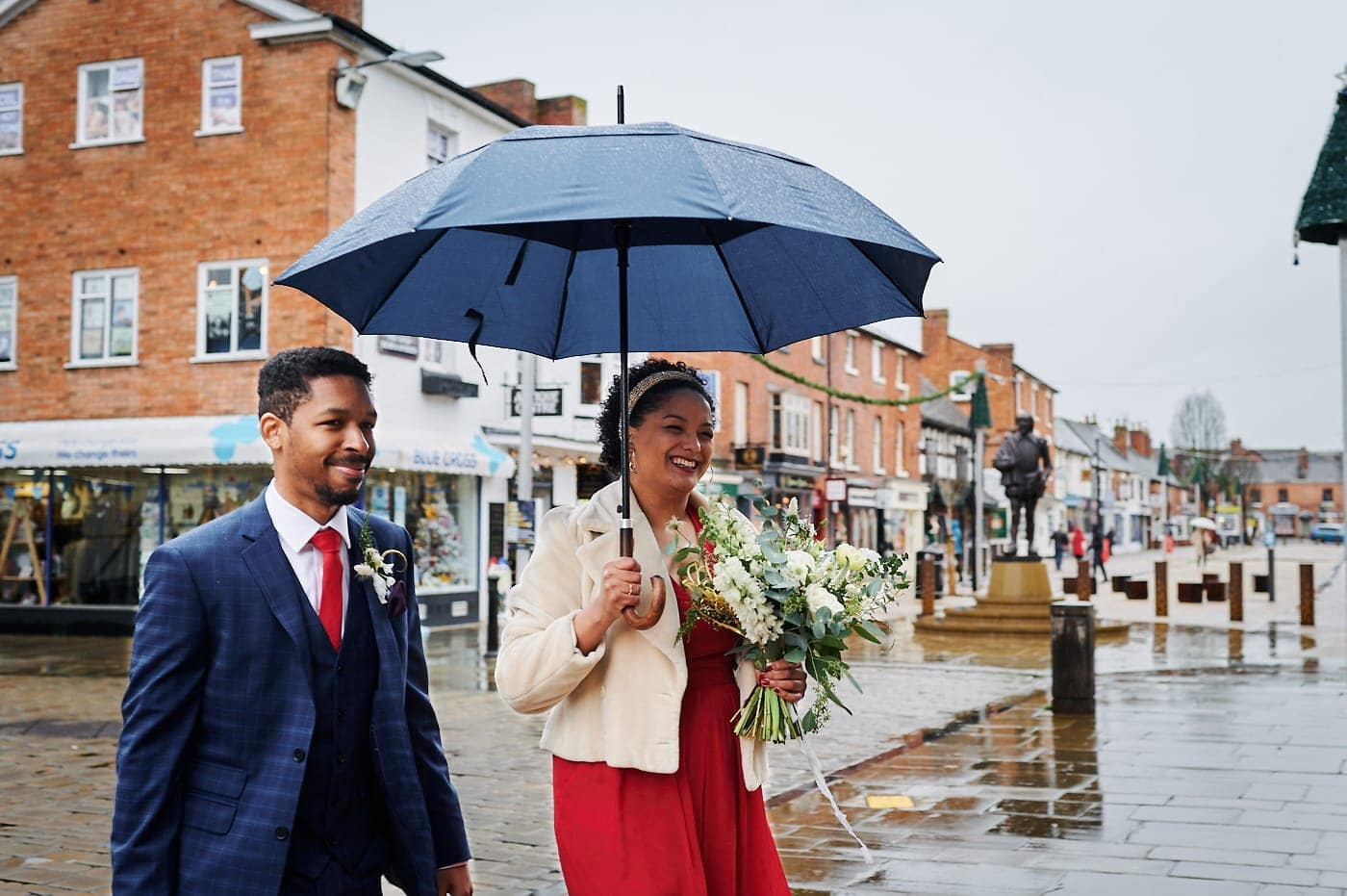 Bride and groom arrive together at The Henley Room in Stratford-upon-Avon for small wedding ceremony