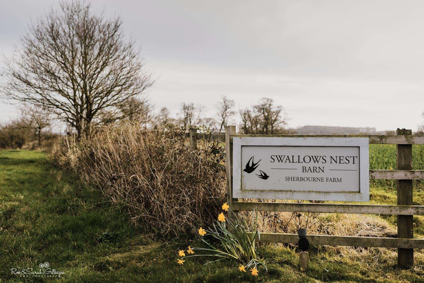 Entrance sigh for Swallows Nest Barn wedding venue