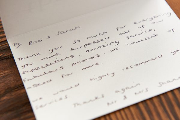 Feedback letter from customer describing how pleased they are with their wedding photos