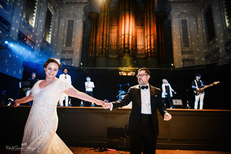 Bride and groom first dance in Birmingham Town Hall