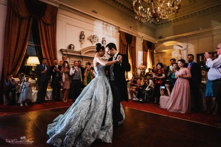 Bride and groom first dance in Cloisters room at Coombe Abbey