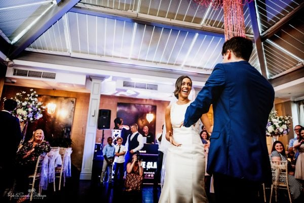 Bride and groom first dance at Hampton Manor wedding reception