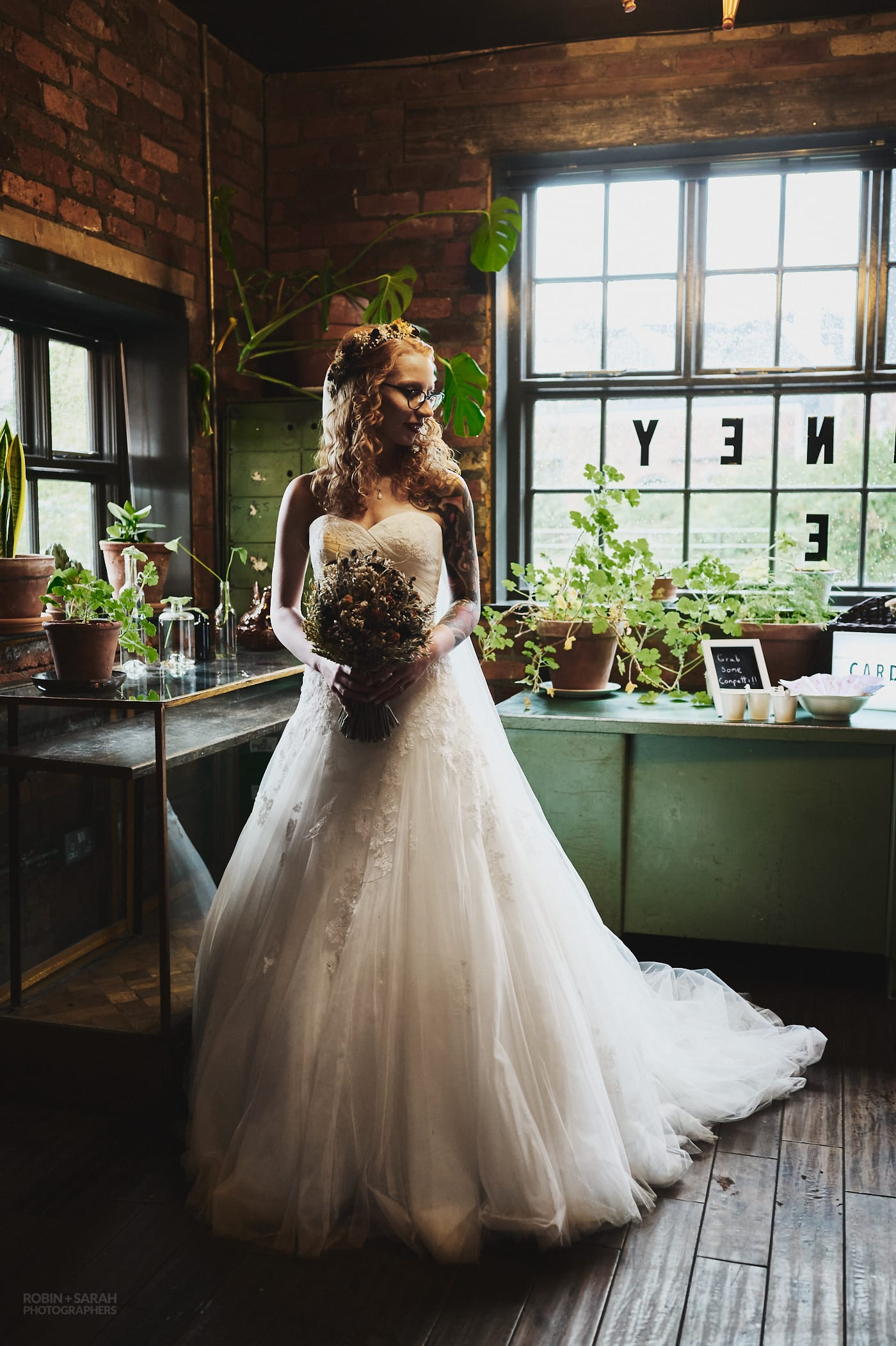 Full length portrait of bride at The Chimney House with beautiful white wedding dress