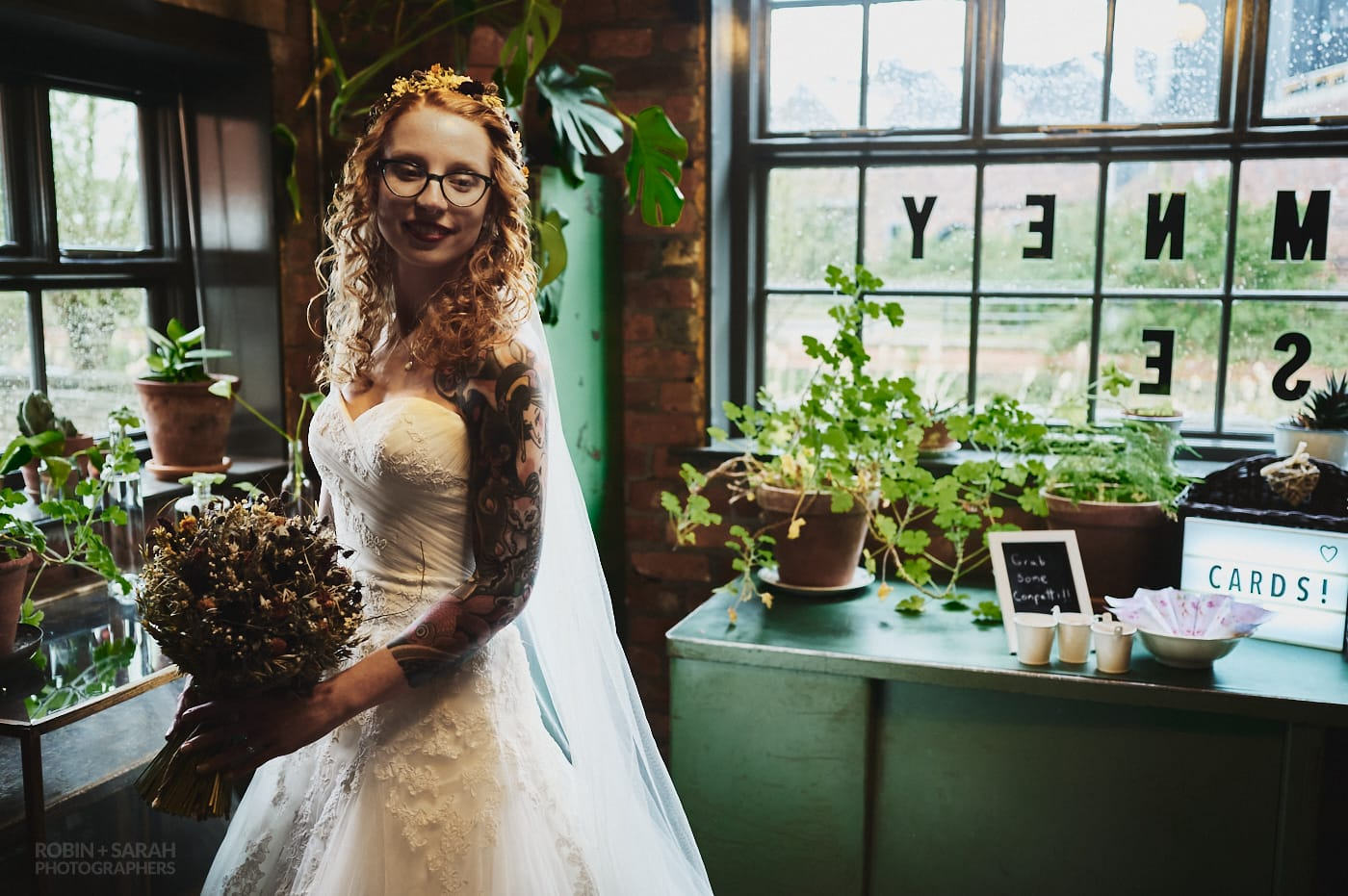 Bride portrait in strong light at The Chimney House wedding venue in Sheffield