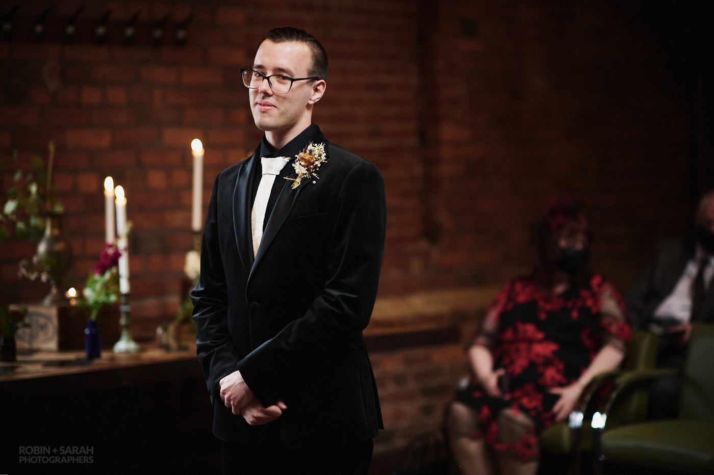 Groom waits for bride to arrive