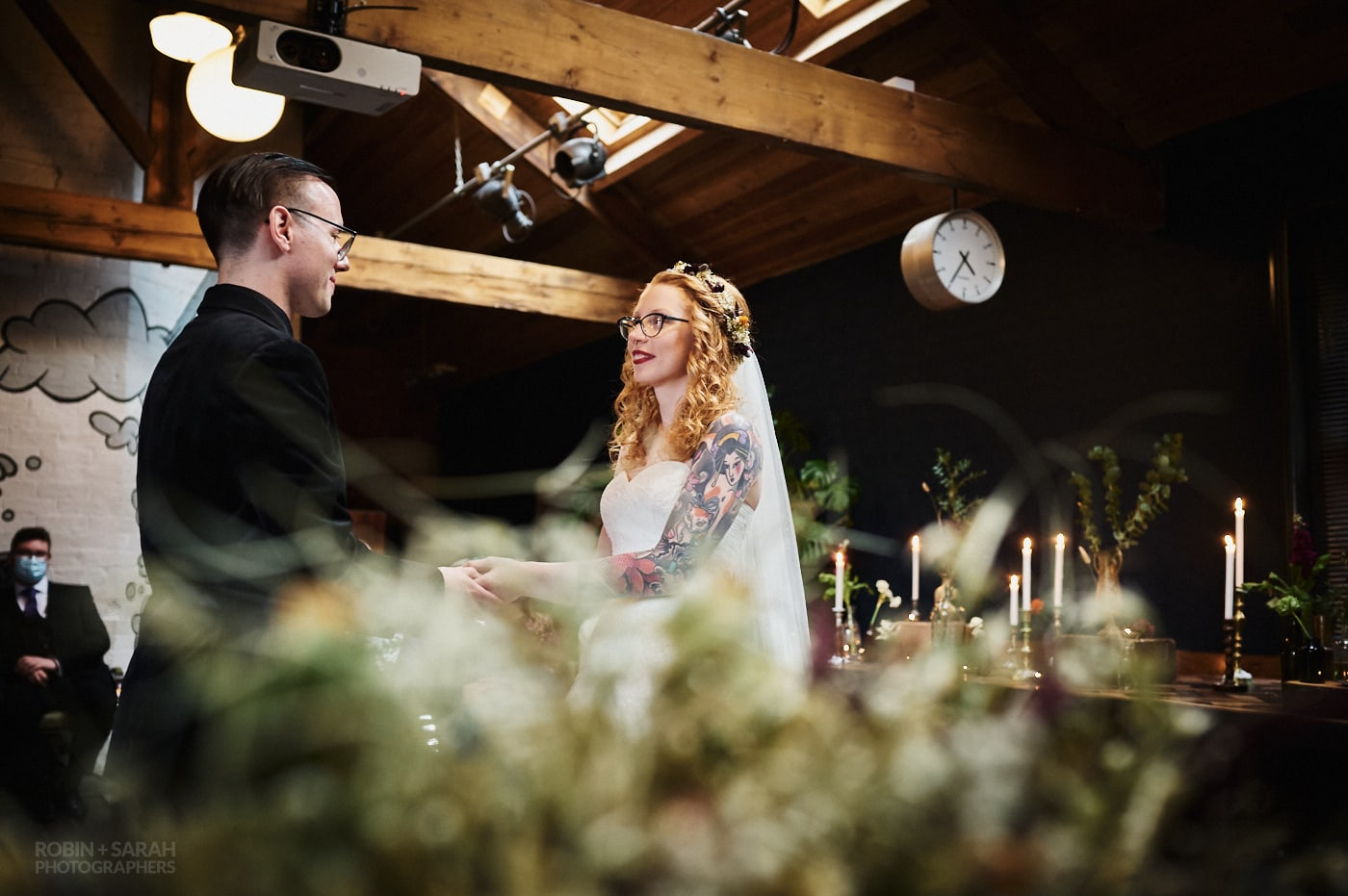 Couple get married during ceremony at The Chimney House