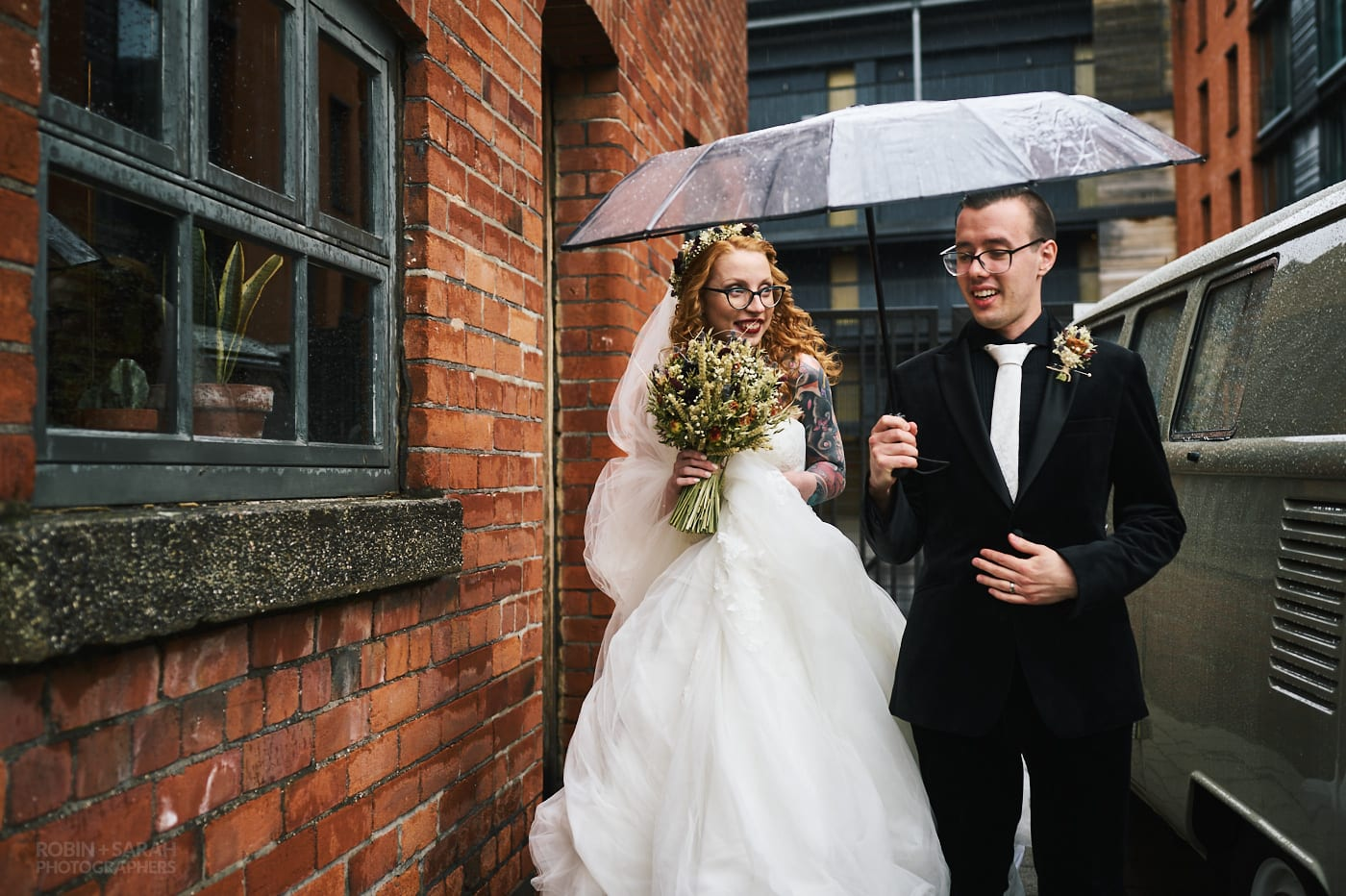 Newly married couple leave The Chimney House wedding venue