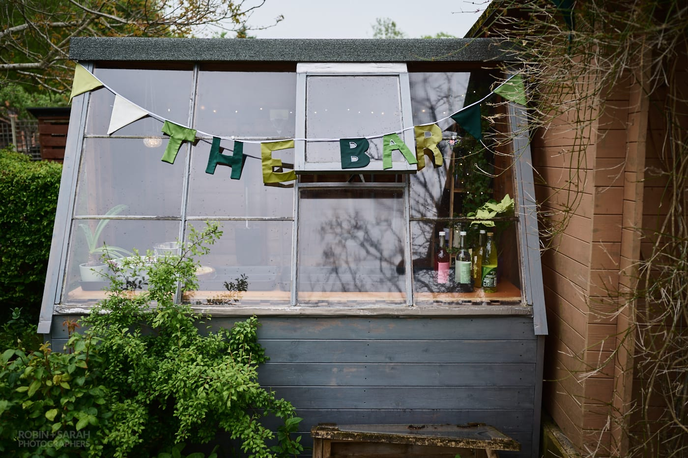 Makeshift bar for garden wedding
