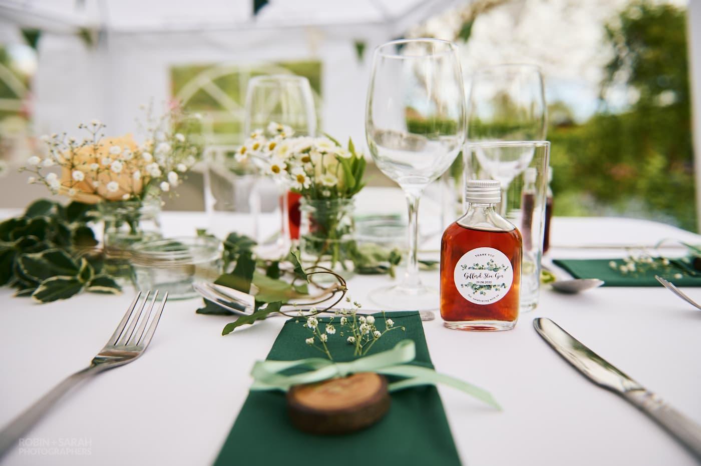 Table details at garden wedding