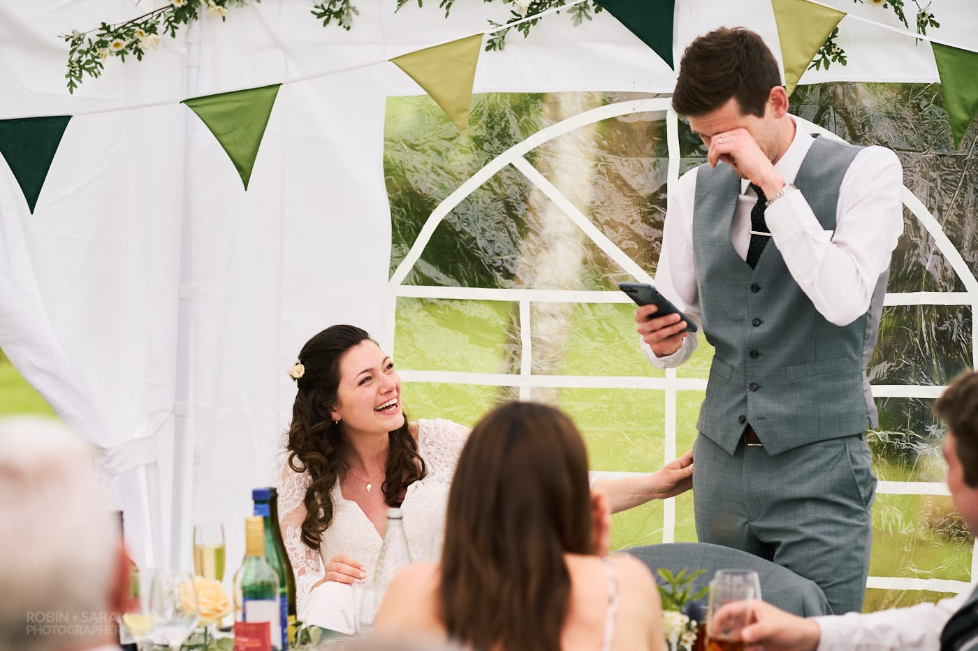 Groom emotional during speeches