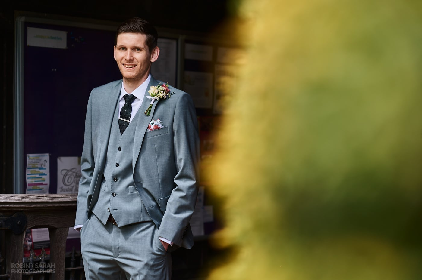 Portrait for groom at church wedding